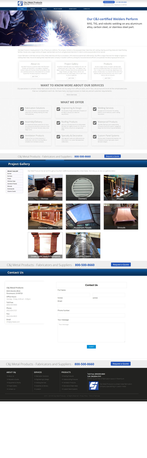 Website Design for Sheet Metal Shop