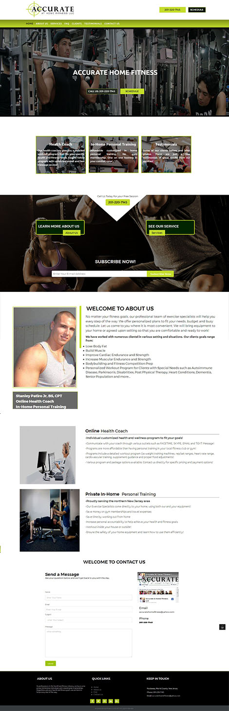 Accurate Home Fitness Website Design